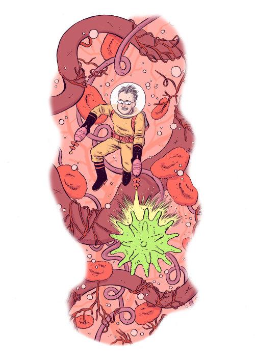 Cartoon & Humor man shooting in space suit