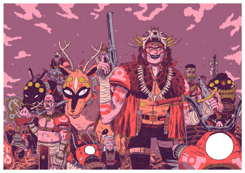 Graphic illustration of monster people