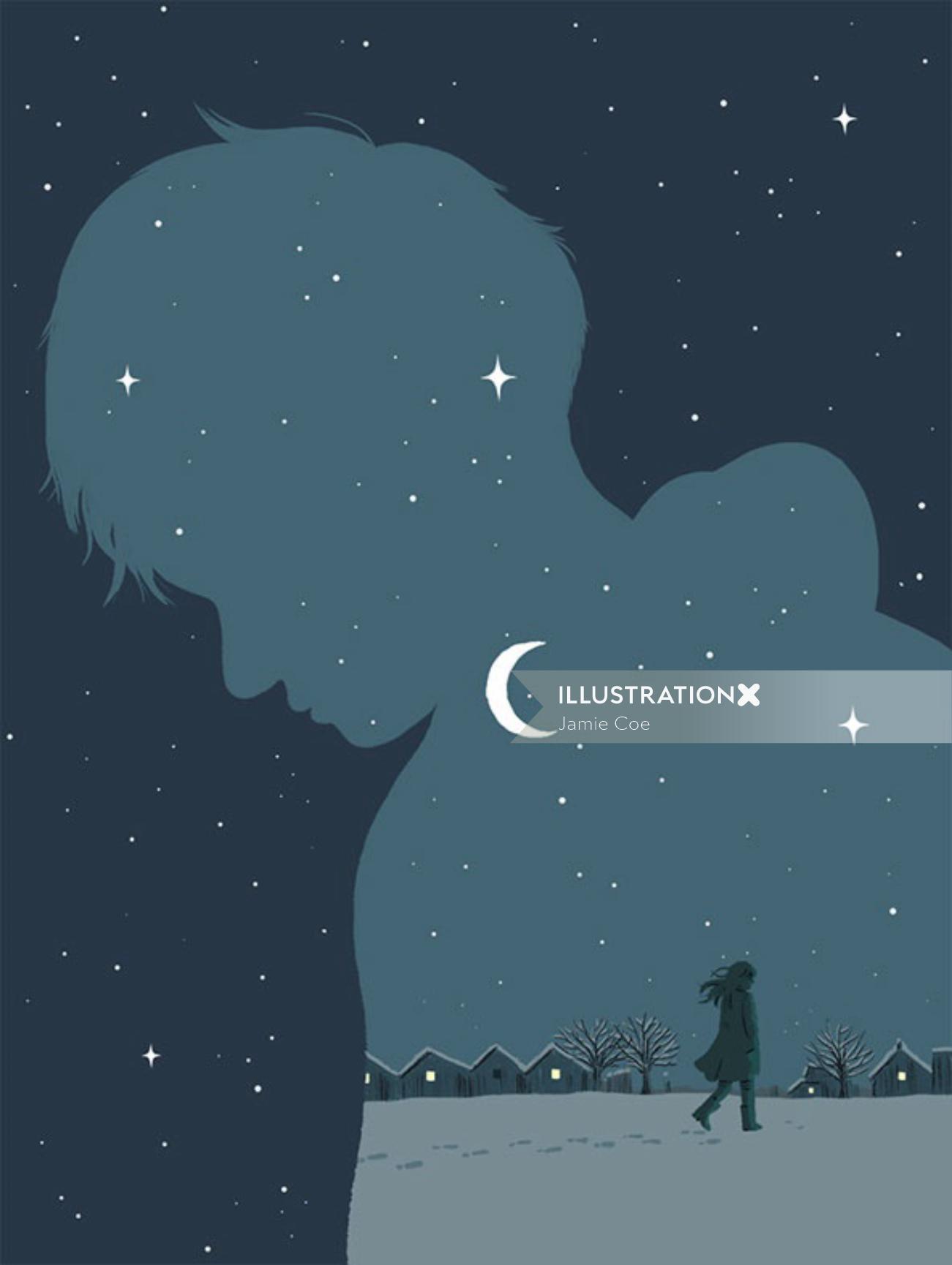 Digital painting of night life