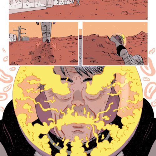 Comic illustration on mars