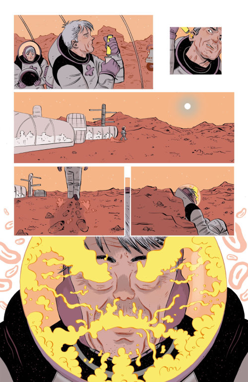 Comic illustration on mars