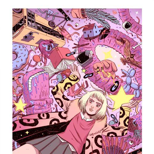 Comic illustration of teenage girl