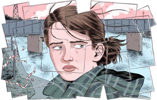 Illustration of woman at bridge