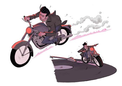 Diseño gráfico de persecución en bicicleta.