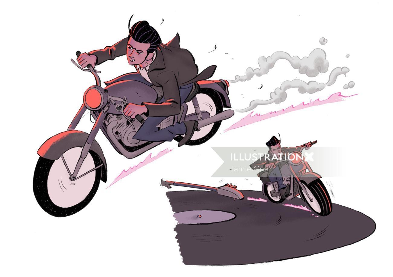 Graphic design of bike chasing