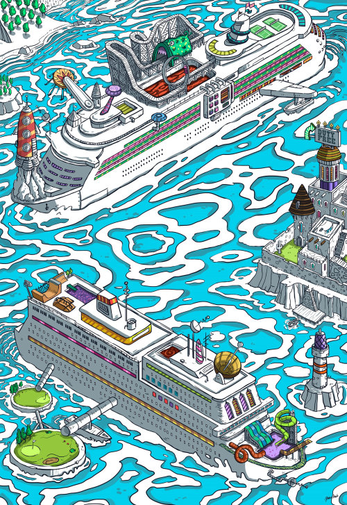 Graphic illustration of Cruise Ships