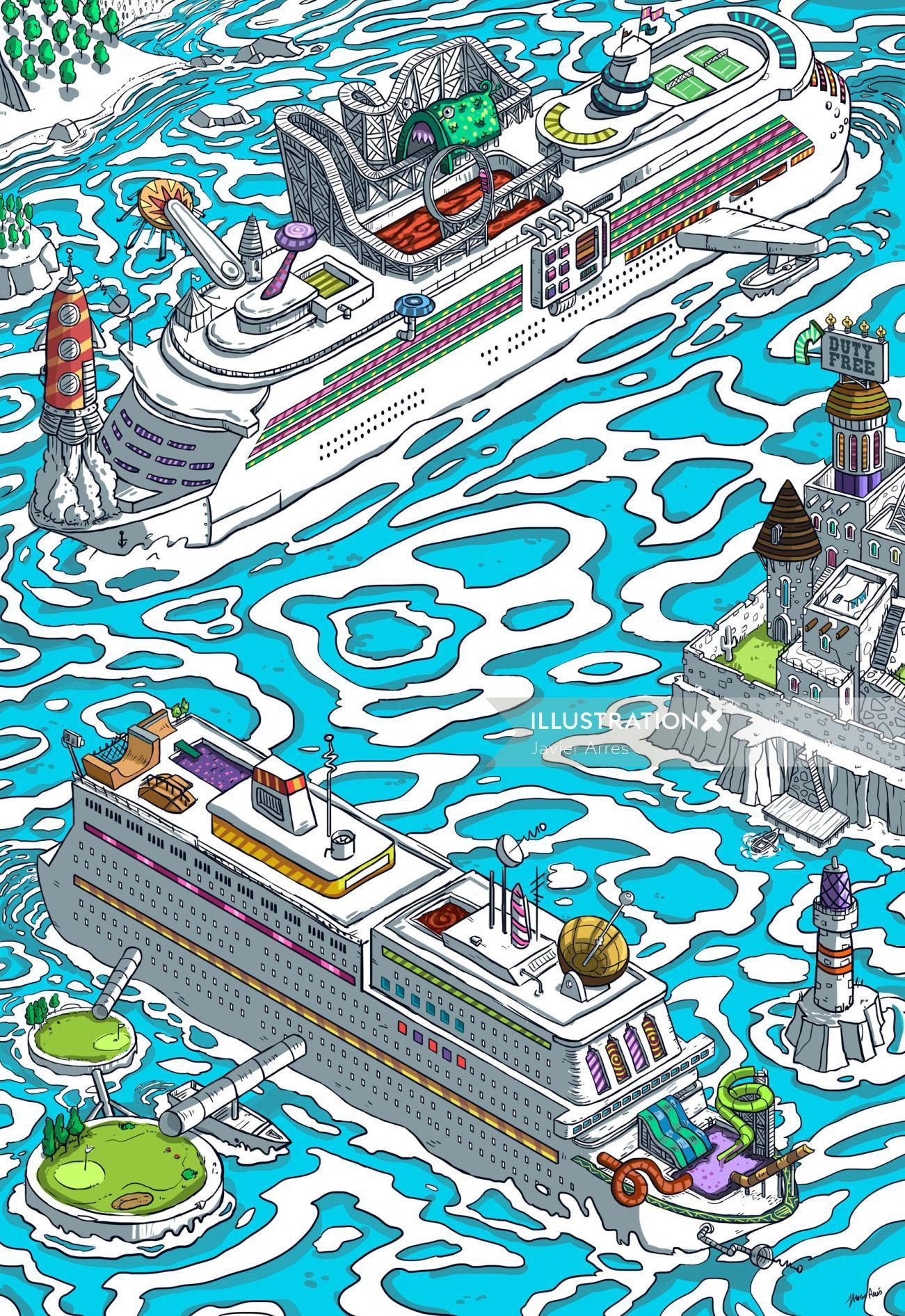 Graphic illustration of Cruise Ships