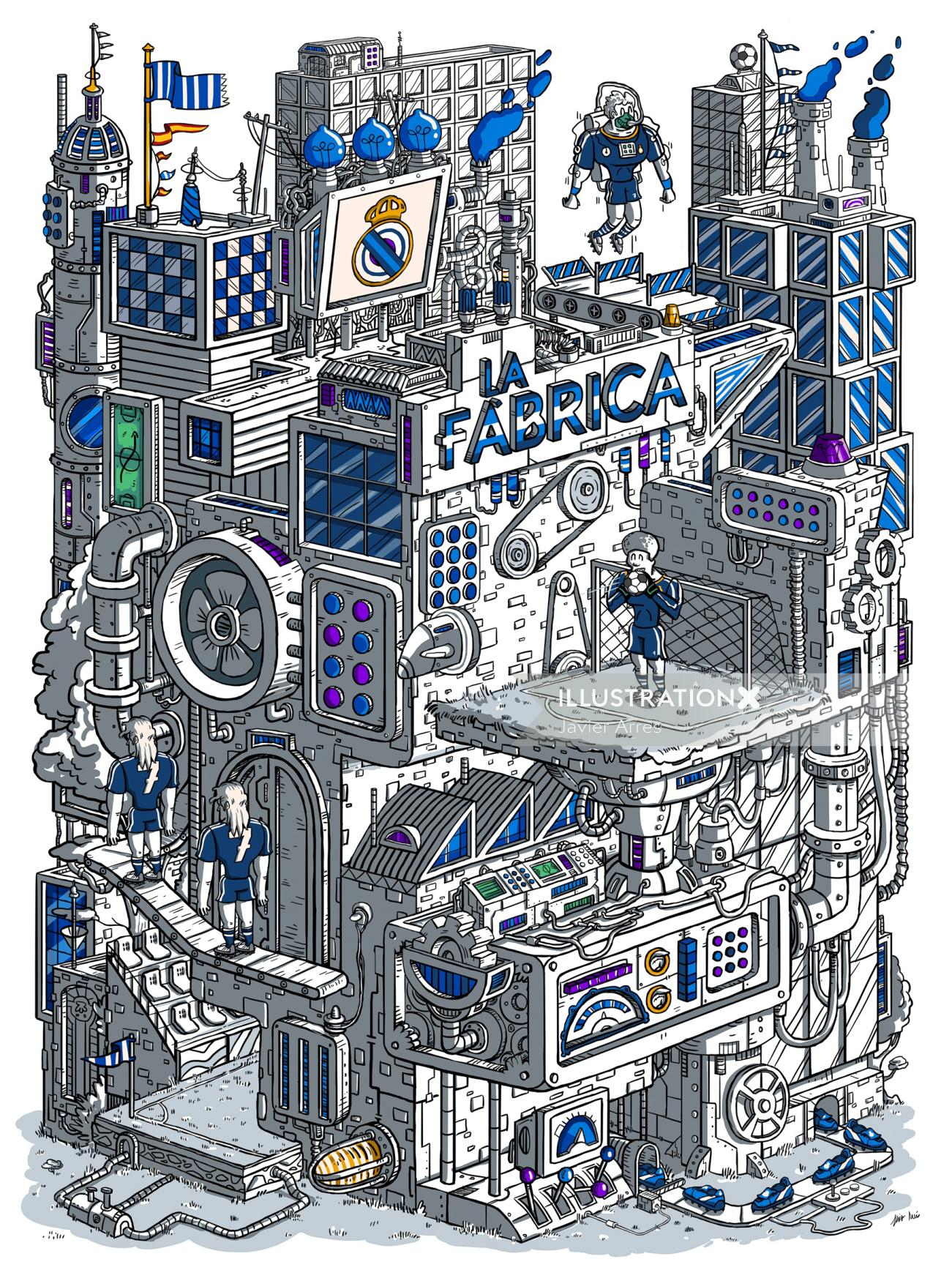 Illustration of LA Fabrica building