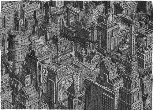 Dark black and white city buildings