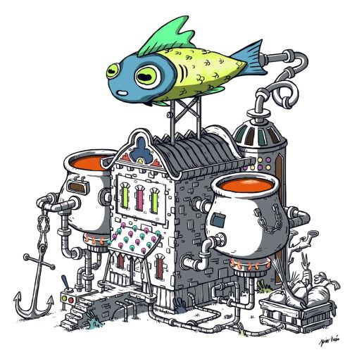 Animation of Fish with boiling pots