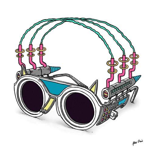 Animation of mechanical eye glasses