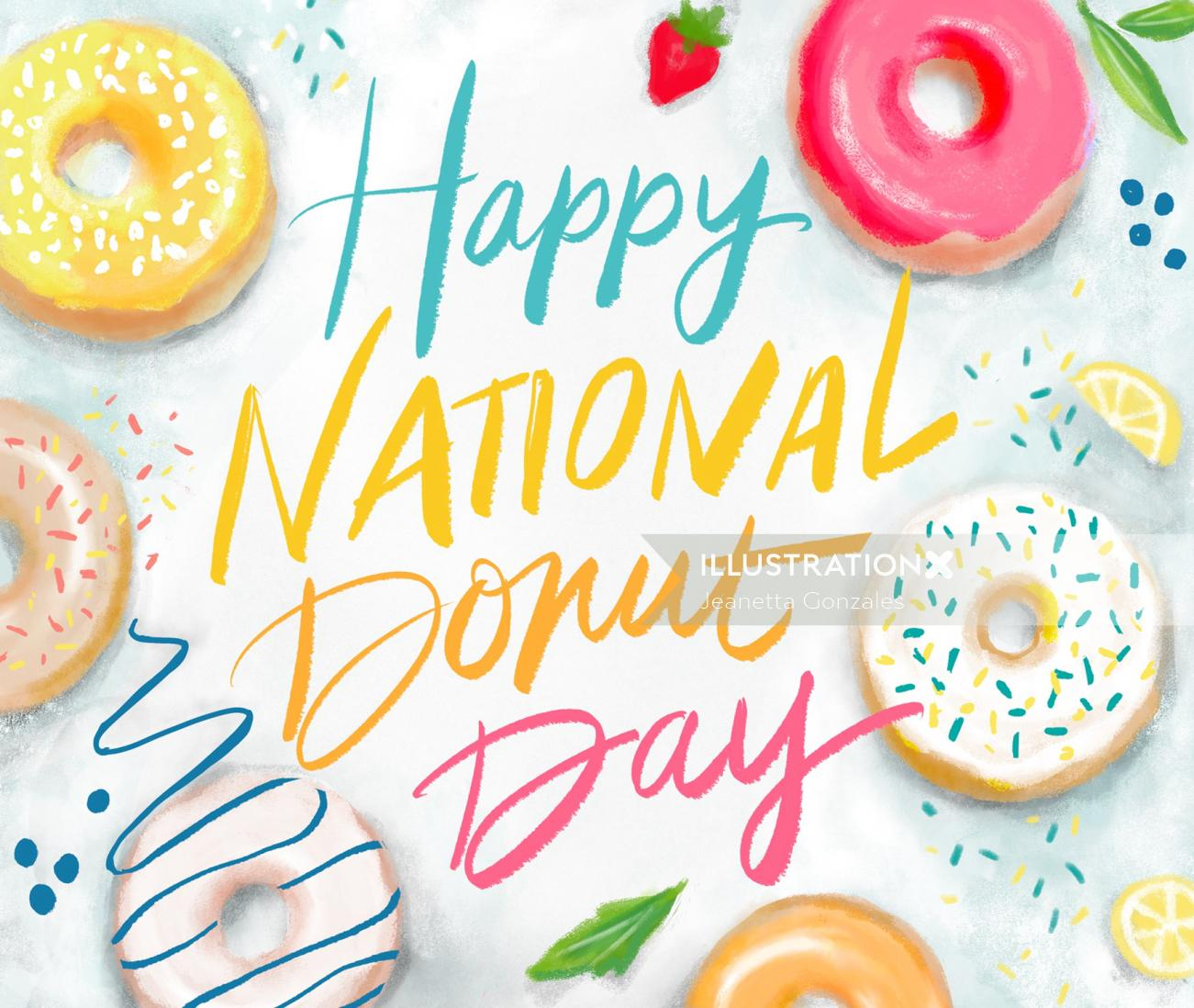 Happy national donut day hand lettering