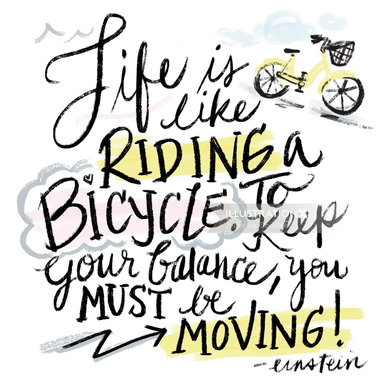 Lettering art of Life is like a riding