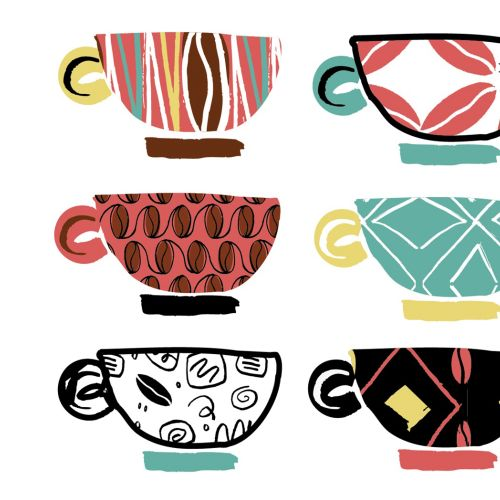 Coffee cups watercolor illustration