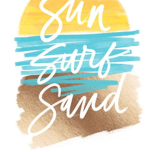 Typography art of sun surt sand