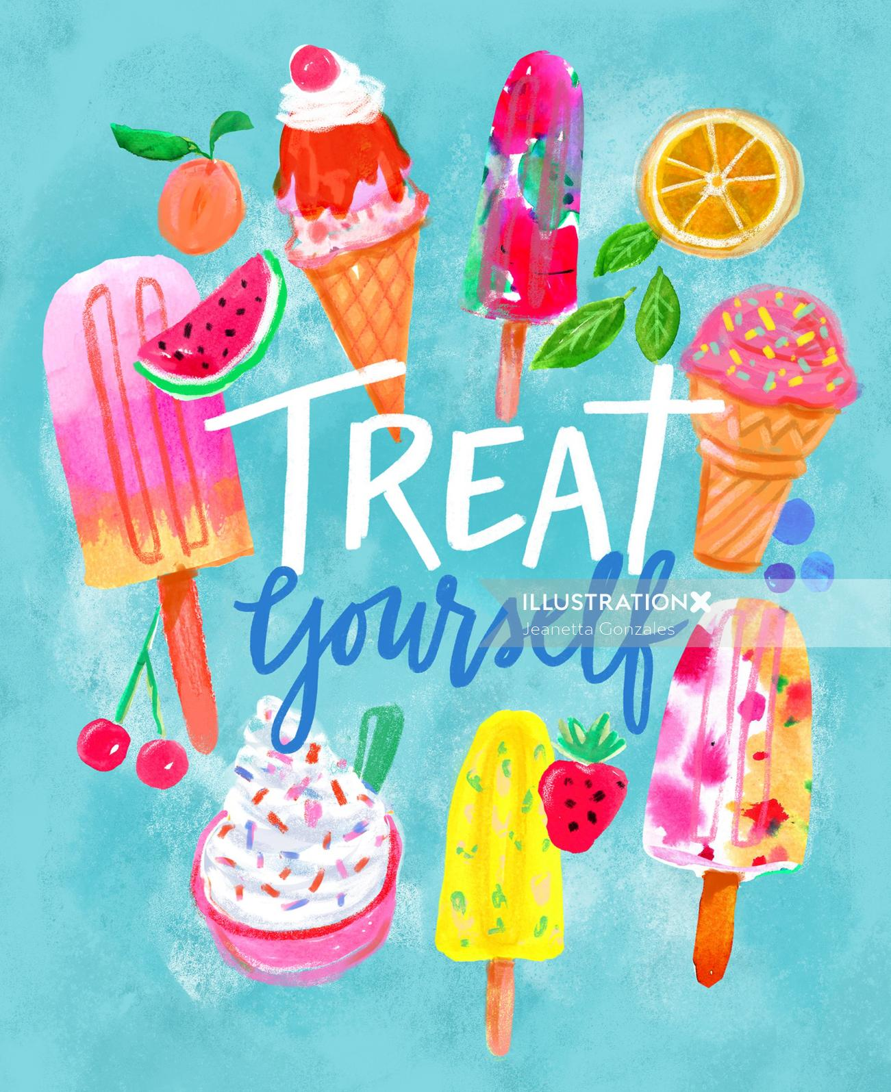 Lettering art of treat yourself