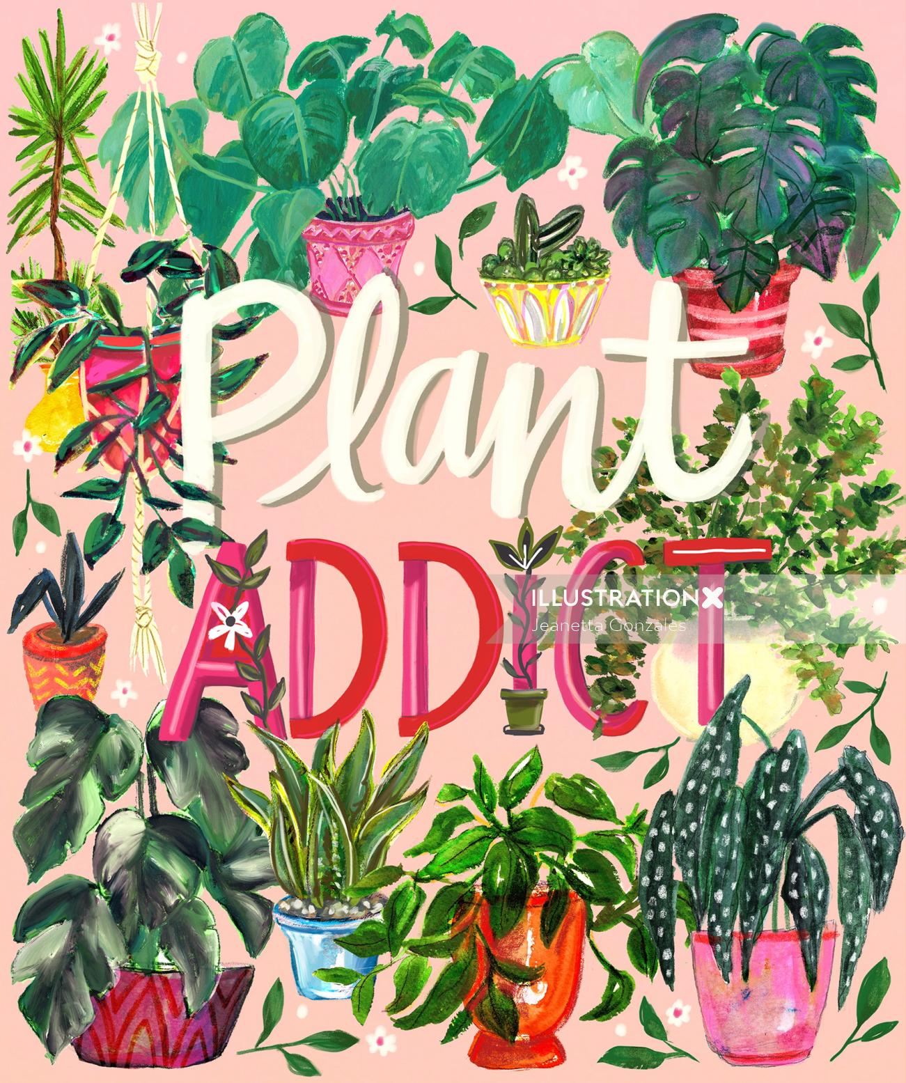 Calligraphy art of plant addict