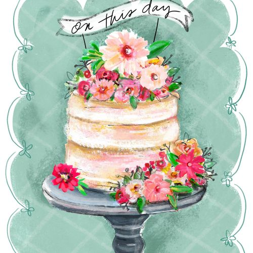 Watercolor painting of cake