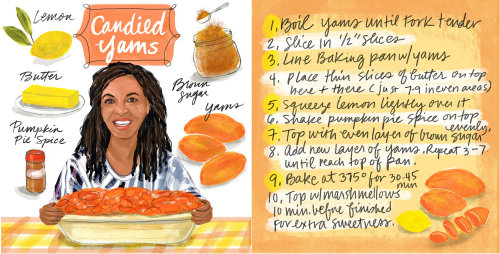 Candid yams making food illustration