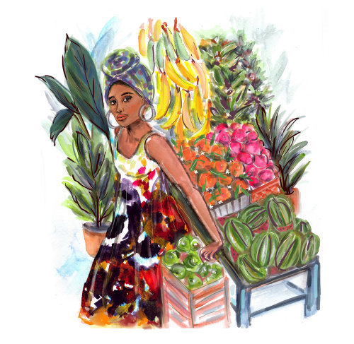 Entitled Lady at the Market watercolor illustration