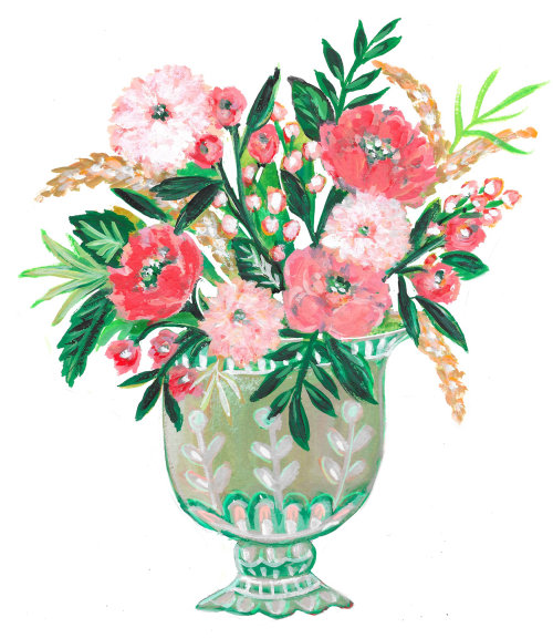 Flower pot watercolor drawing