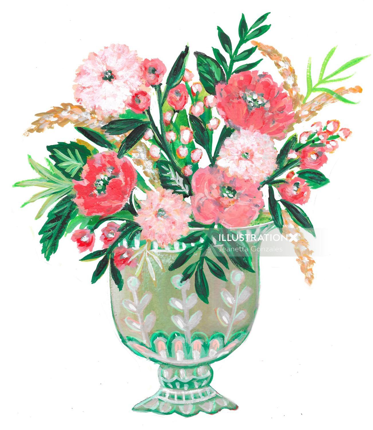 Flower pot watercolor drawing
