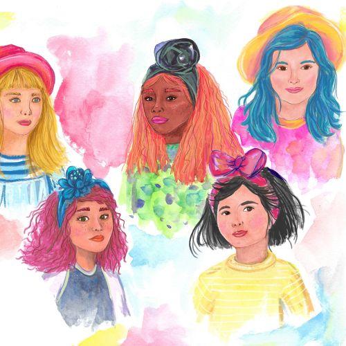 Digital portrait of different girls