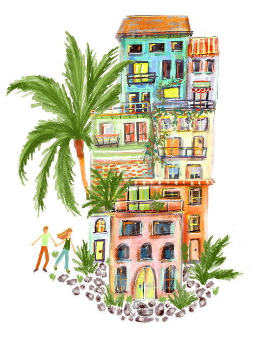 Watercolor painting of apartments