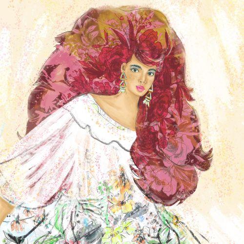 Fashion illustration of beautiful girl
