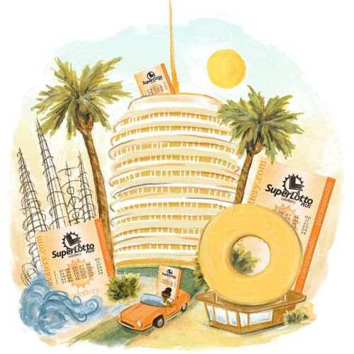 California Lottery celebration illustration by Jeanetta Gonzales