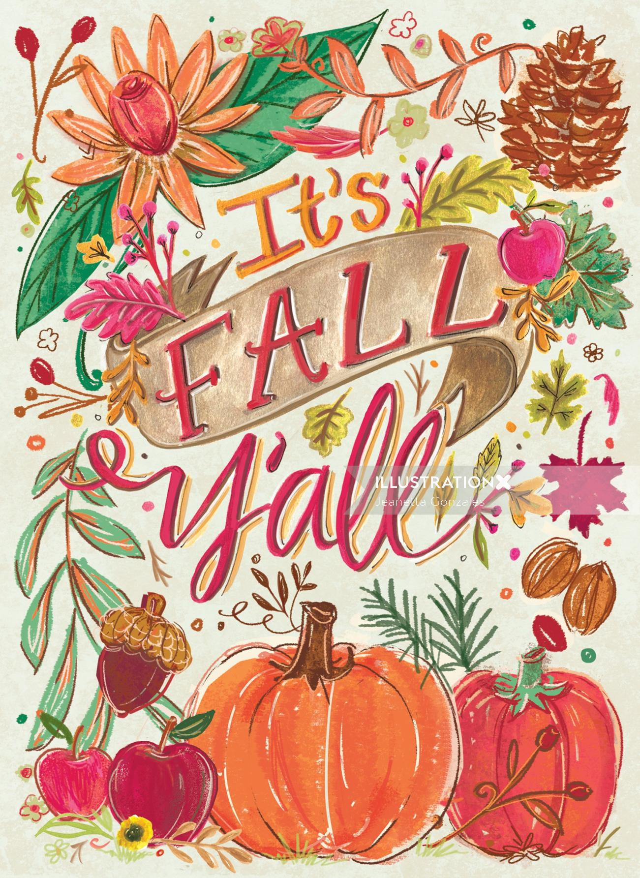 Calligraphy art of it's fall y'all