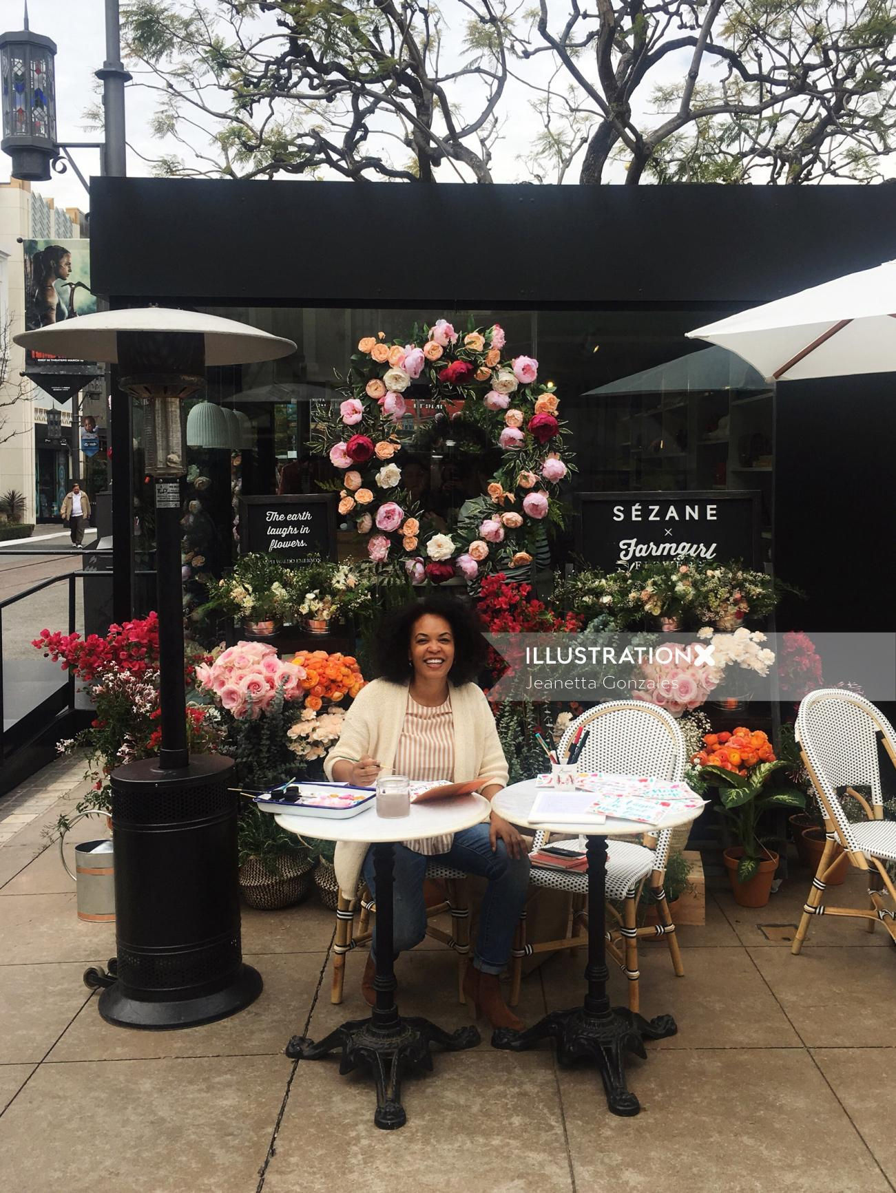 Live drawing for Sezanne Pop Up Shop at the Grove shopping mall in Los Angeles.
