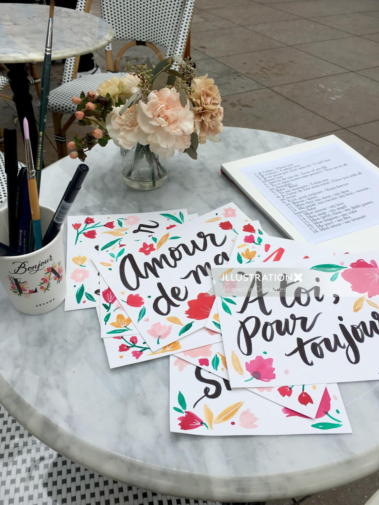 Hand lettering of amour de ma
