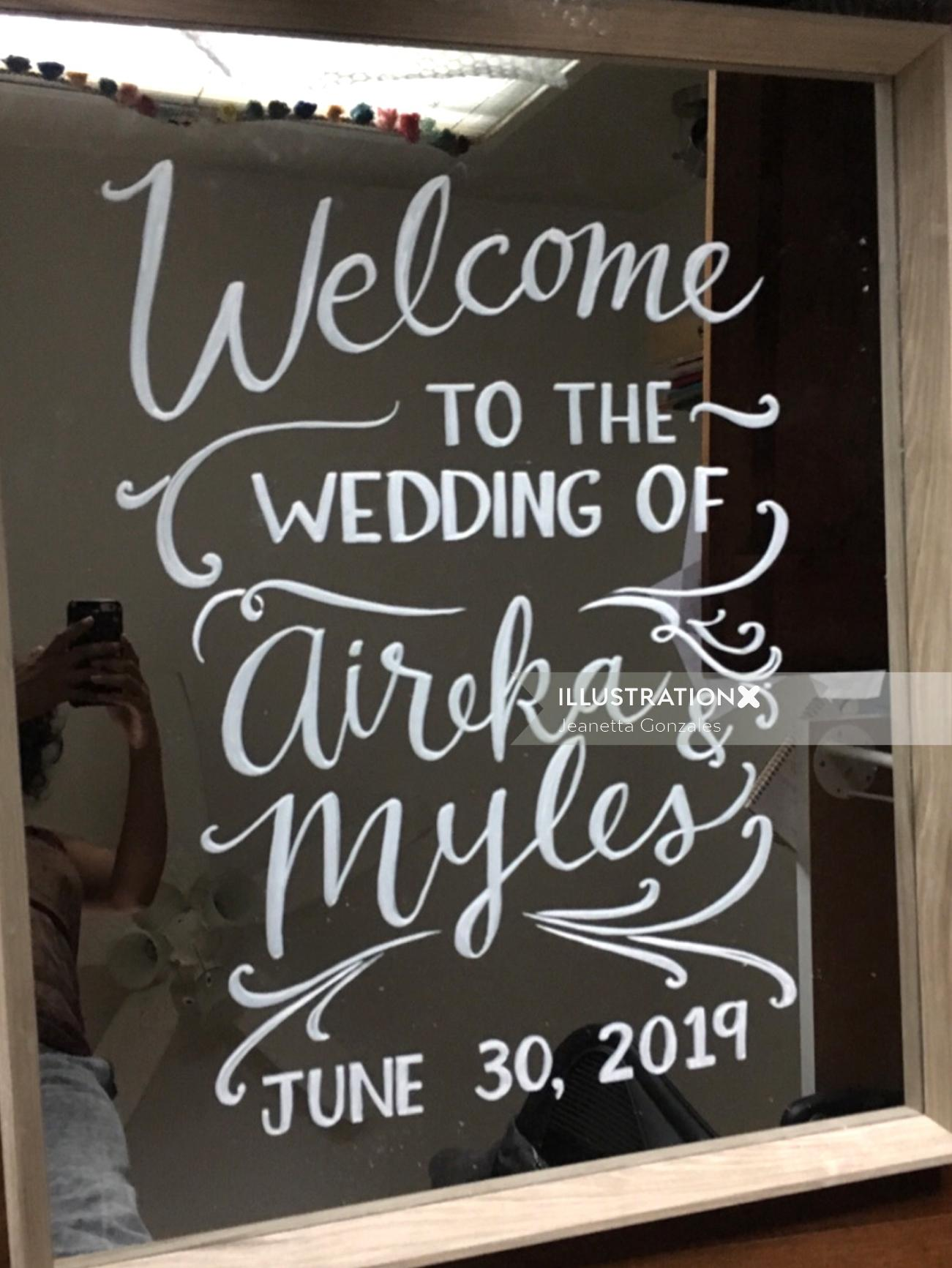 Calligraphy of welcome to the wedding