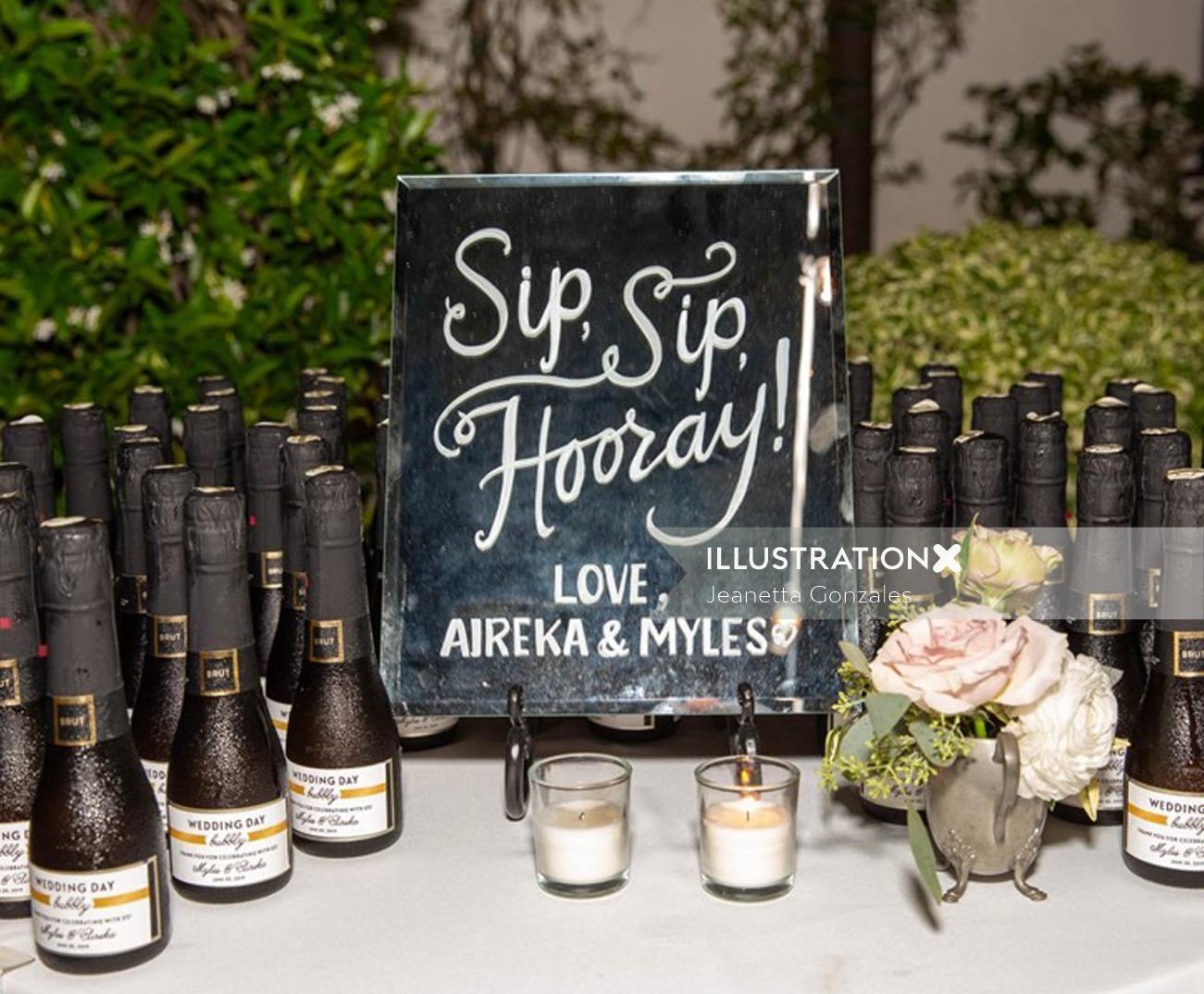 Typography art of sip sip hooray