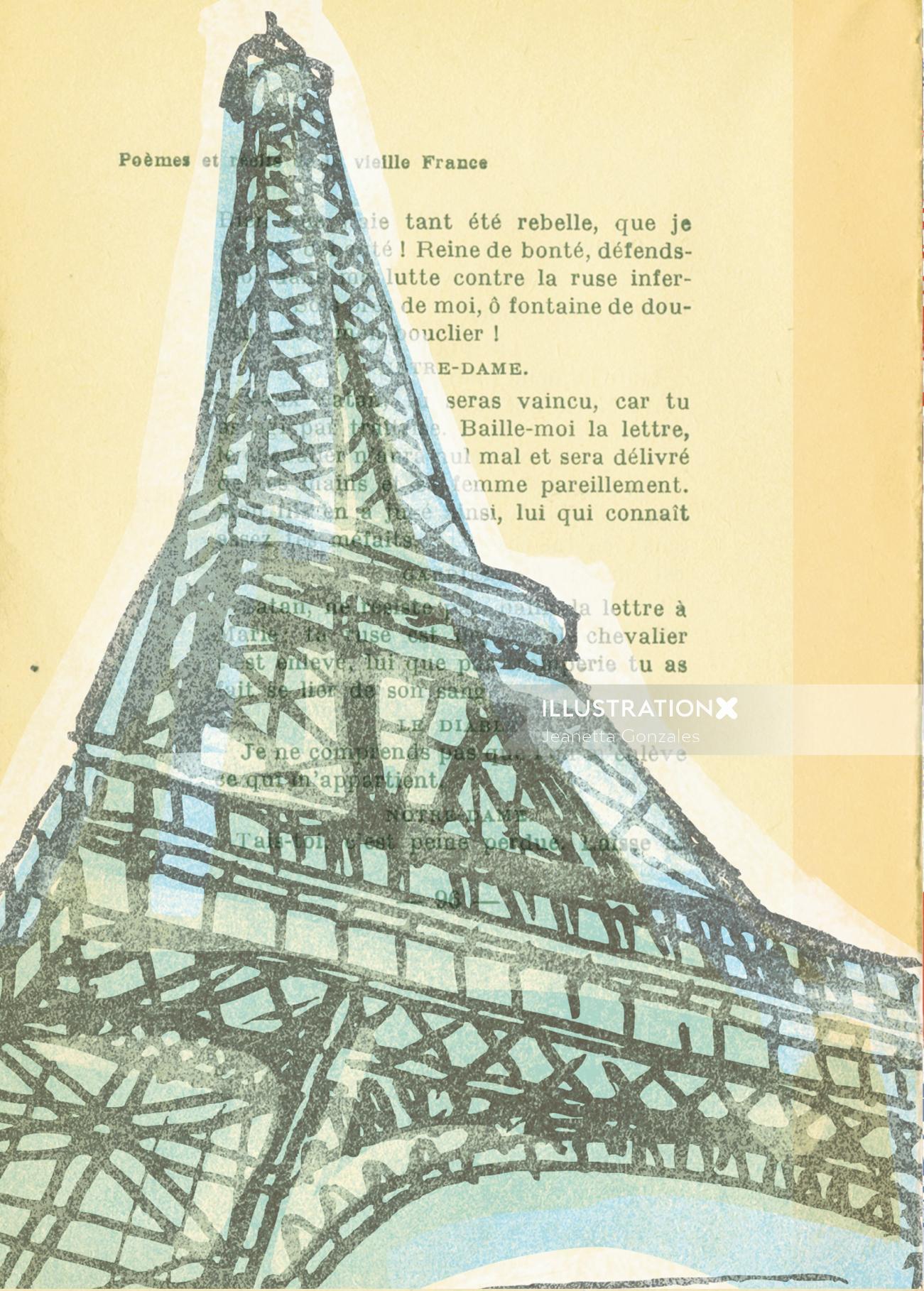 Editorial art of Eiffel tower