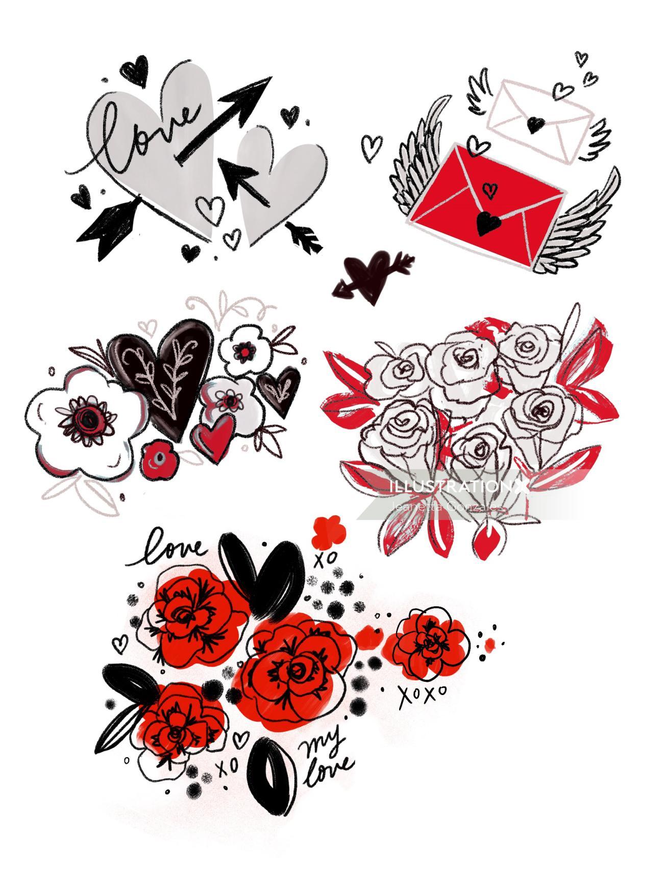 Decorative illustration of love