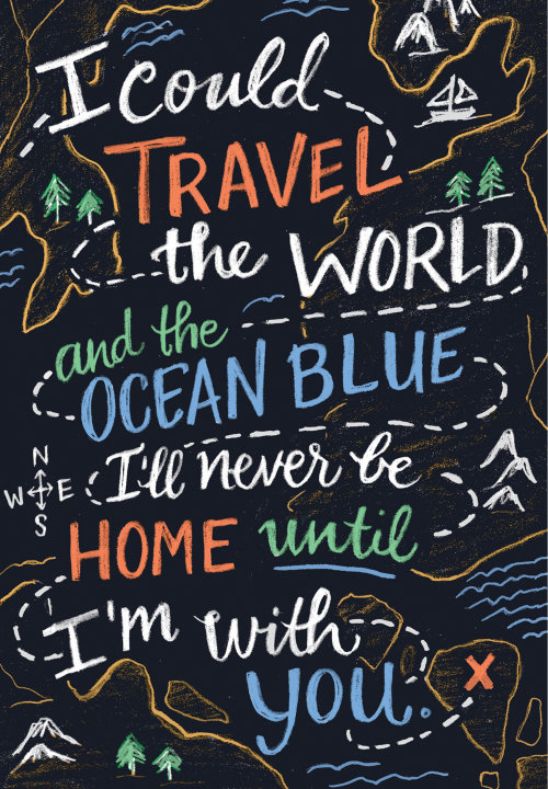 Travel the worlds and ocean blue typography