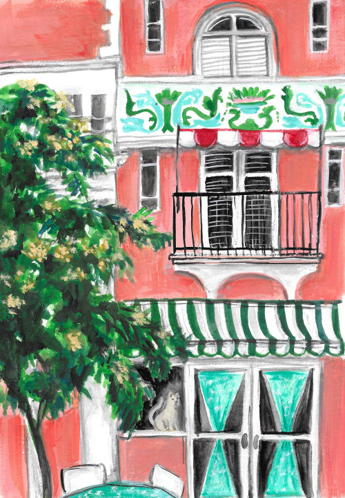 Watercolor building illustration in Miami