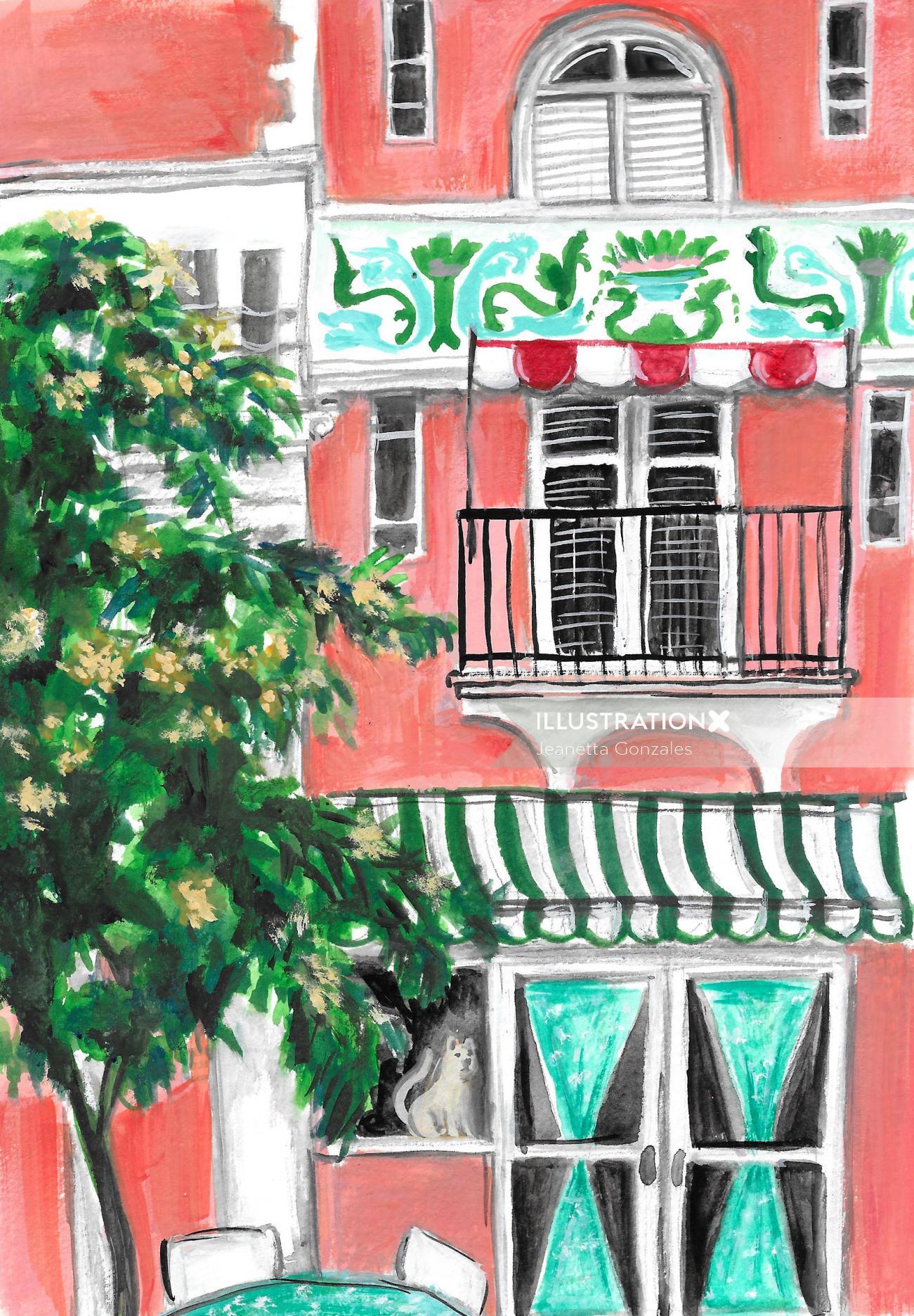 Watercolor building illustration in Miami