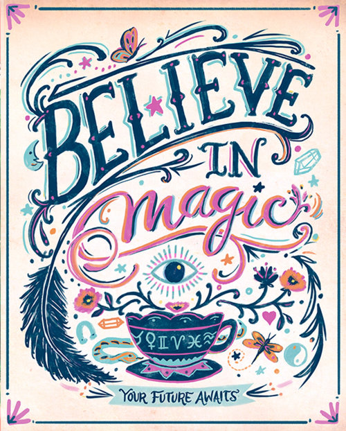 Calligraphy art of believe in magic
