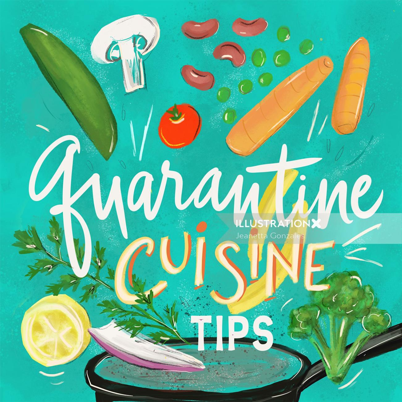 Typography art of quarantine cuisine tips