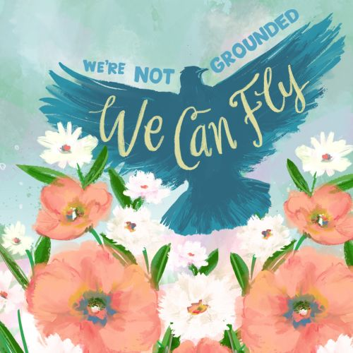Conceptual lettering art of we can fly