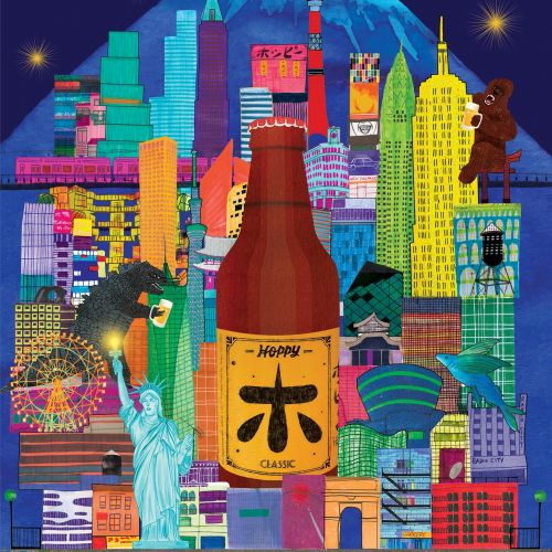 Hoppy Beer architecture graphic of Tokyo and Newyork