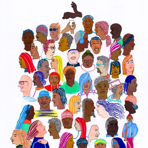 Set of Watercolour People Faces