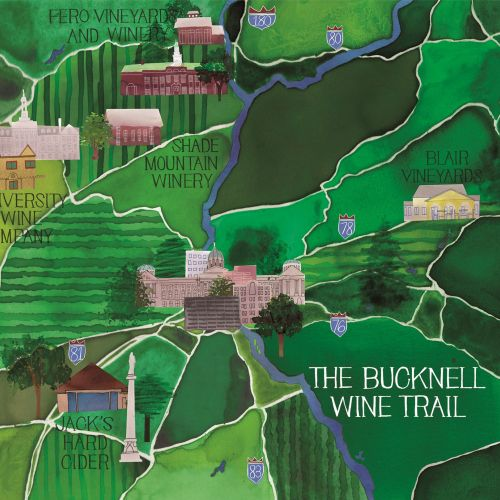 Watercolour Painting of The Bucknell Wine Trail Map