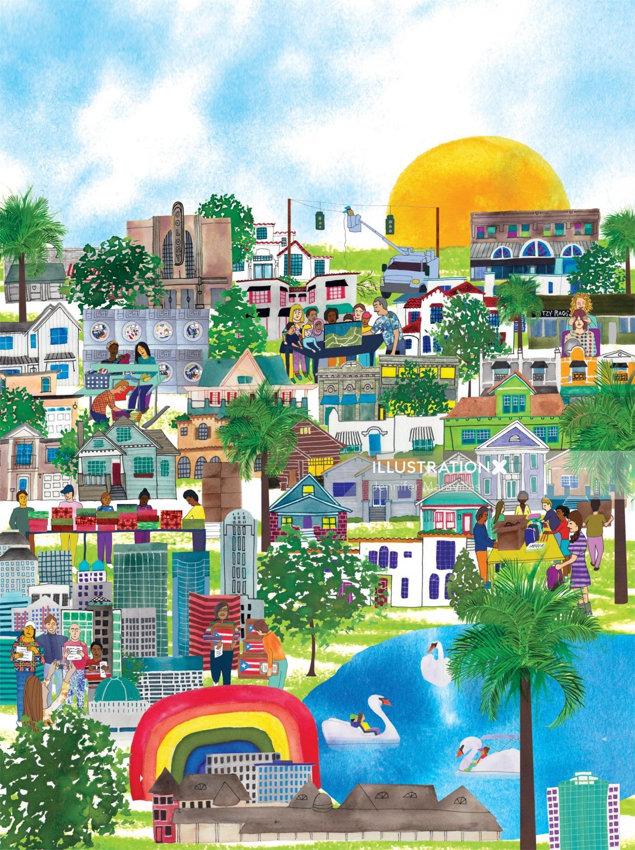 Watercolour Drawing of Orlando Cityscape