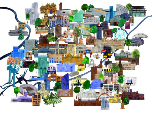 Magma books Machester UK cityscape Map