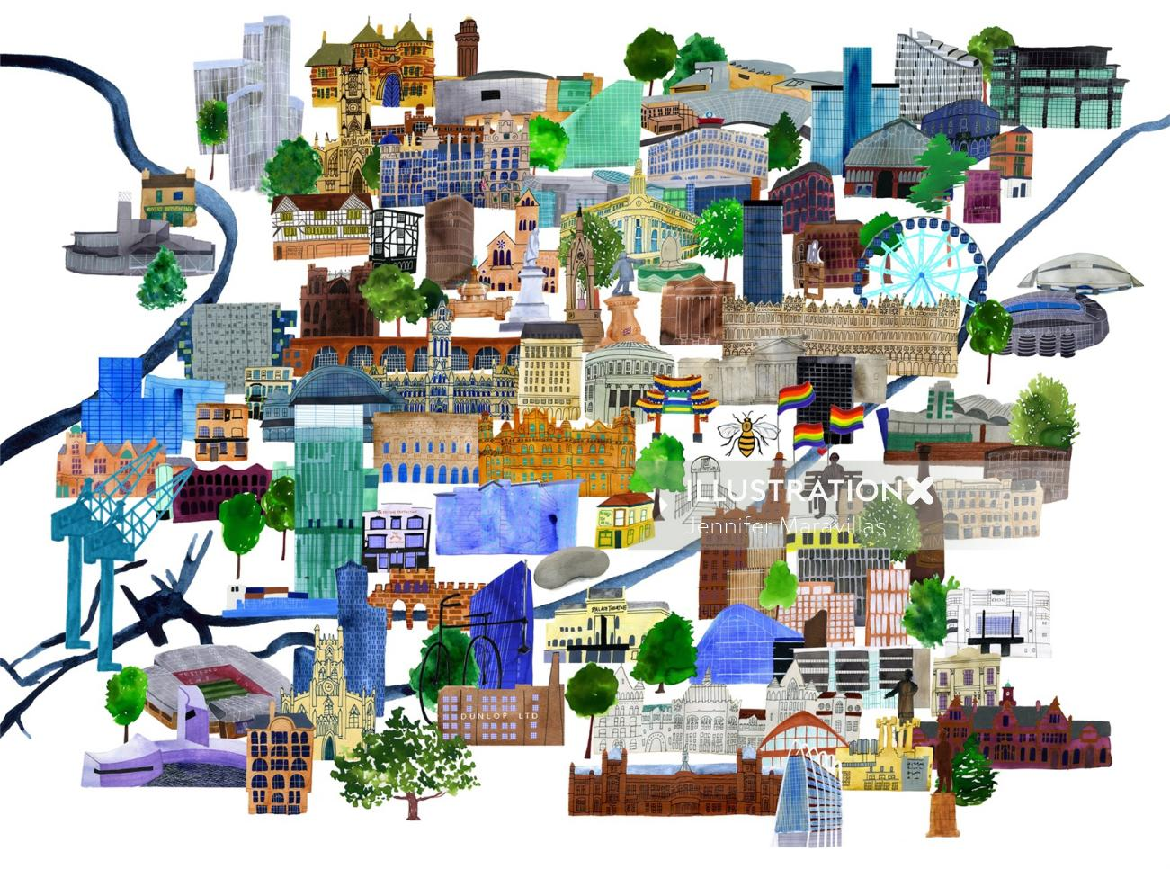 Magma books Machester UK cityscape Map