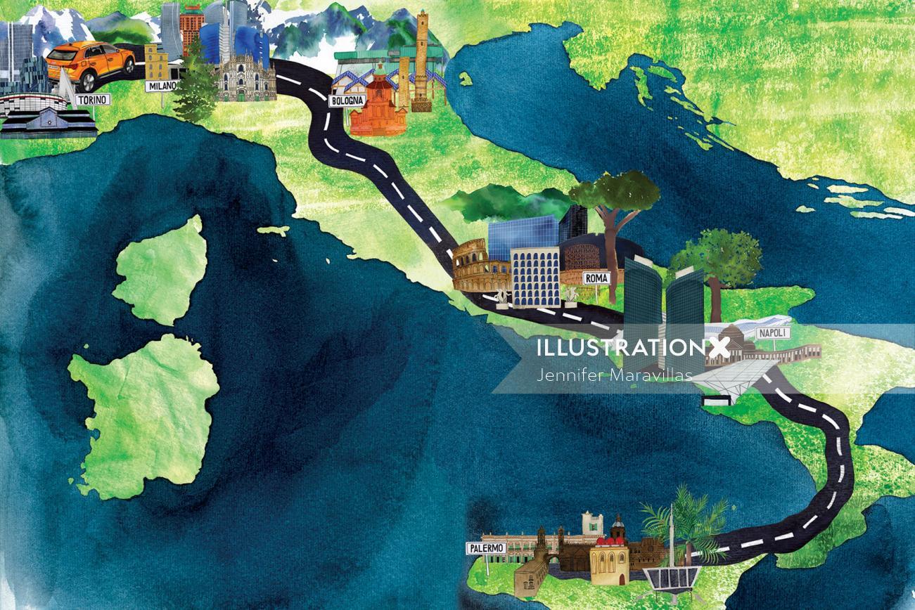 Vanity fair Graphic map Italia